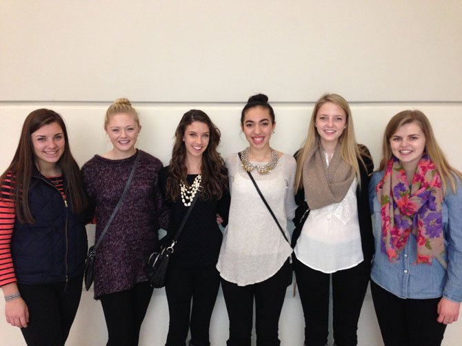 From left, Langley High School sophomores Caroline Jackson, Haley Falkenberry, Amanda Baird, Alex Grieco, Mary-Hagen Grow and Lainey Dooley, members of the Pyramid Marketing Group, a student-run marketing group that is assisting local schools.