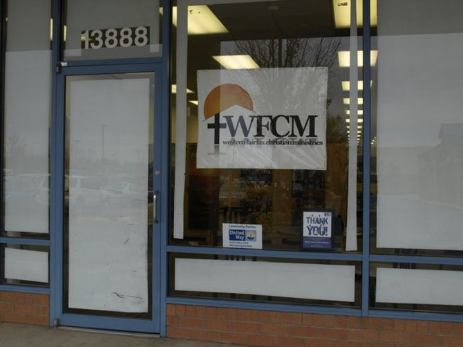 The exterior of WFCM's new food-pantry location in Chantilly's Sully Place shopping center.