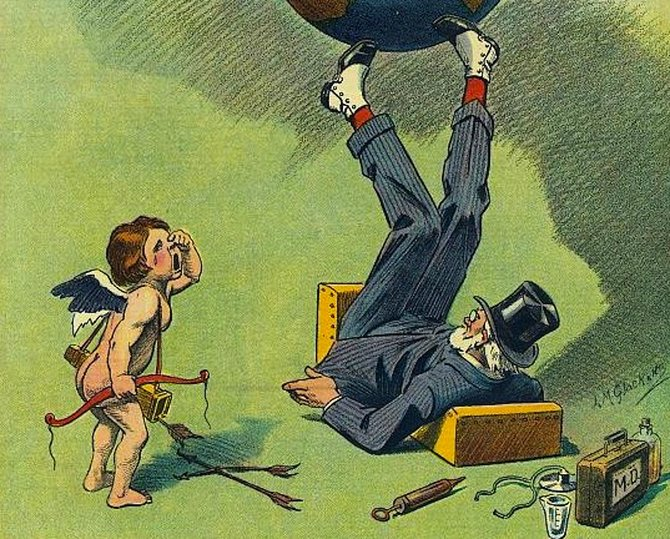 This 1913 cover of Puck Magazine features a well-dressed man balancing the earth with his legs. A cherub weeps over the headline, 'Eugenics Makes the World go 'round.'