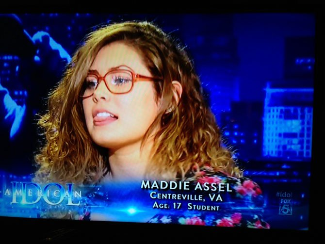 "Local teen Maddie Assel performs on TV last week on ""American Idol."""