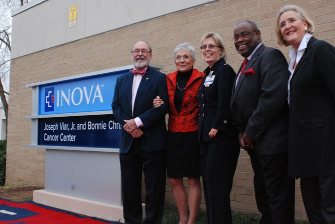 Mayor Bill Euille, state Sen. George Barker (D-39), Inova Alexandria CEO Christine Candio, Joseph Viar Jr., Bonnie Christ and state Sen. Adam Ebbin (D-30) at the dedication of the Inova Alexandria Cancer Center.