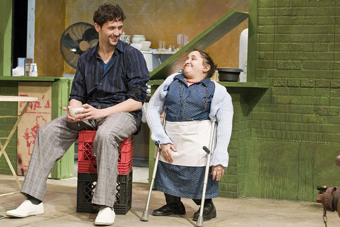 "From left: Drew Kopas as Aldo and Suzanne Richard as May in the 1st Stage production of ""Italian American Reconciliation."""