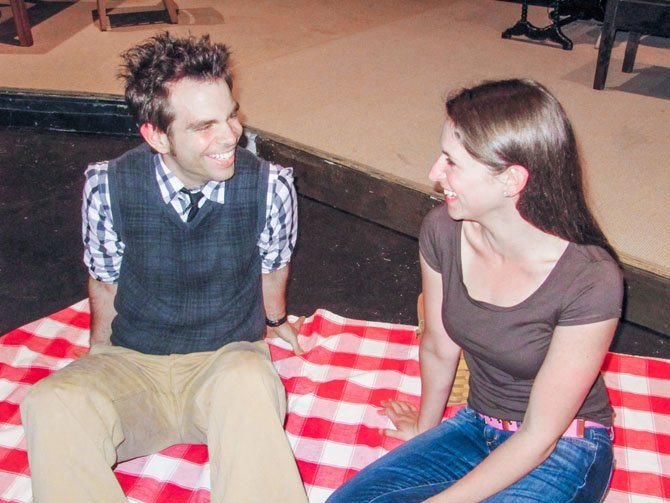 "Matt Baughman as Charle Gordon and Lauren Kiesling as Alice Kinnian in the Elden Street Players production of ""Flowers for Algernon."""