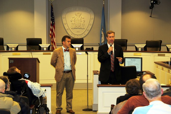 From left, State Sen. Chap Petersen (D-34) and Del. David Bulova (D-37) provided an overview of issues that are currently before the General Assembly and took questions from constituents during their winter Town Hall meeting at the City of Fairfax City Hall Saturday, Feb. 2.