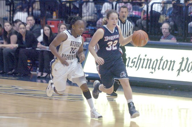 Former West Springfield standout point guard April Robinson has started every game of her freshman season for the Duquesne womens basketball team.
