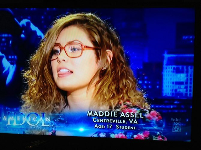 "Fairfax Academy student Maddie Assel, of Clifton, performs on TV on the popular, singing-competition show, ""American Idol."""