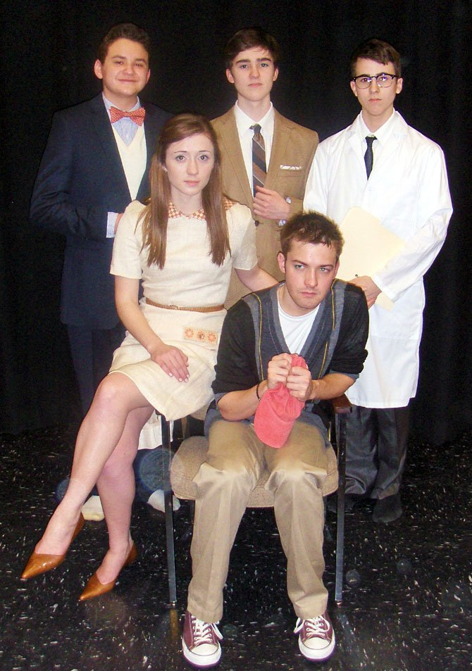 "In character for Westfield's ""Flowers for Algernon"" are (back row, from left) Alex Mann and brothers Brandon and Julian Sanchez and (front, from left) Madeleine Bloxam and Mitchell Buckley"
