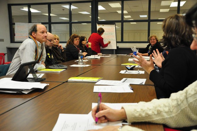 Parents, administrators and other community members discuss Fairfax County Public Schools' student rights and responsibilities at McLean High School Thursday, Feb. 7.