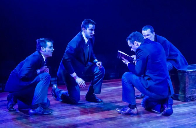 "A tight-knit band of boarding school students (from left: Alex Mills, Joel David Santner, Jefferson Farber, and Rex Daugherty) uncover a secret copy of the banned play ""Romeo and Juliet"" in ""Shakespeare's R&J,"" now playing at Virginia's Signature Theatre through March 3, 2013."
