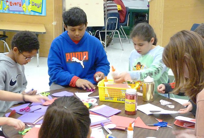 Lorton's Union Mill Elementary School students enjoyed making Valentine's Day cards with community nursing home residents in mind.