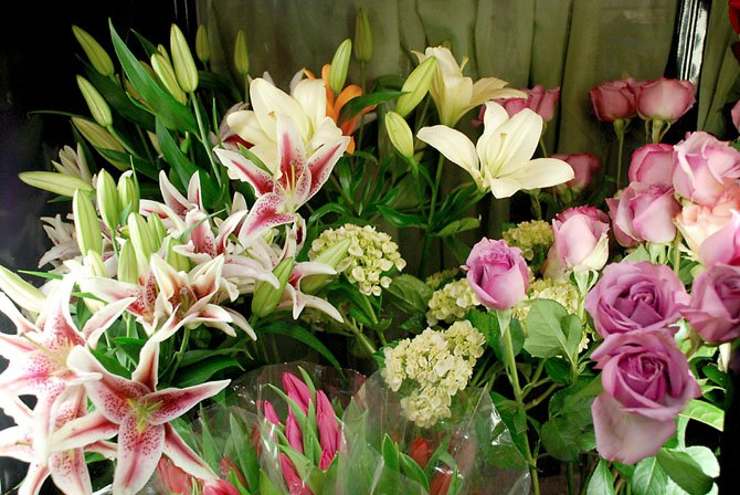 Stargazer lilies are a colorful complement to more traditional roses as an option on Valentines Day.