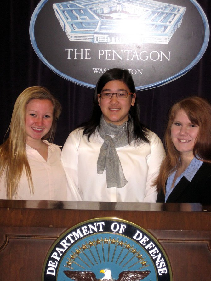 Chantilly Academy students in the Air Force Association's CyberPatriot program participated in a federal IT Job Shadow Day at the Pentagon, last Thursday, Feb. 7. Learning that the Pentagon's chief information officer is a woman, future cyber-defenders (from left) Westfield High students Jackie Lasky and Tanya Sutan-Tanon, plus Fairfax High's Jessica Miers, are encouraged in their plans for successful careers in cybersecurity.