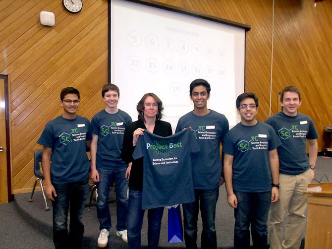 From left, Nikhil Garg, Robert Young, Roian Egnor, Parth Chopra, Dhruv Gaba and Roy Rinberg, core members of Project BEST, presenting a t-shirt to one of the guest speakers Dr. Roian Egnor.