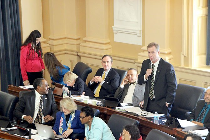 Del. David Bulova (D-37) addresses colleagues on the floor of the House of Delegates Monday, Feb. 18.