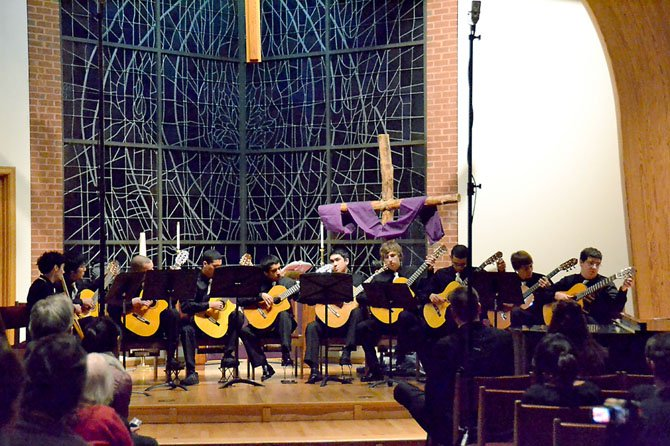 The Robinson guitar ensemble performs at the 2012 Robinson Gives Back benefit concert. This year, the ensemble will perform works by Darin Au and Eric Whitacre.