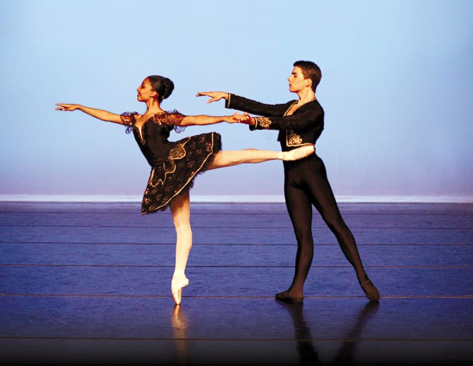 "From left to right, Elena Bello and Ben Malone of Richmond Ballet II in ""Classical Symphony"" by Malcolm Burn."