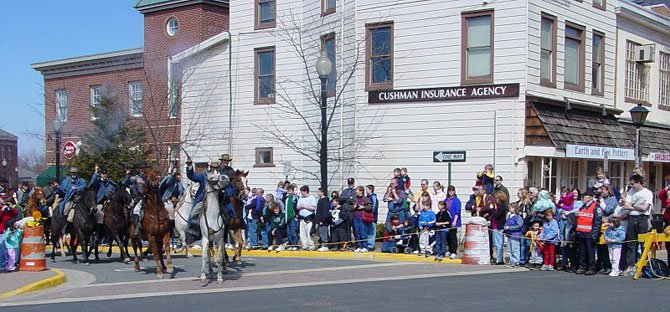 The cavalry leads a charge during a re-enactment of Capt. John Mosby's raid on the Town of Herndon. The town will host another re-enactment Sunday, March 17 downtown, which is the 150th anniversary of Mosby's raid.