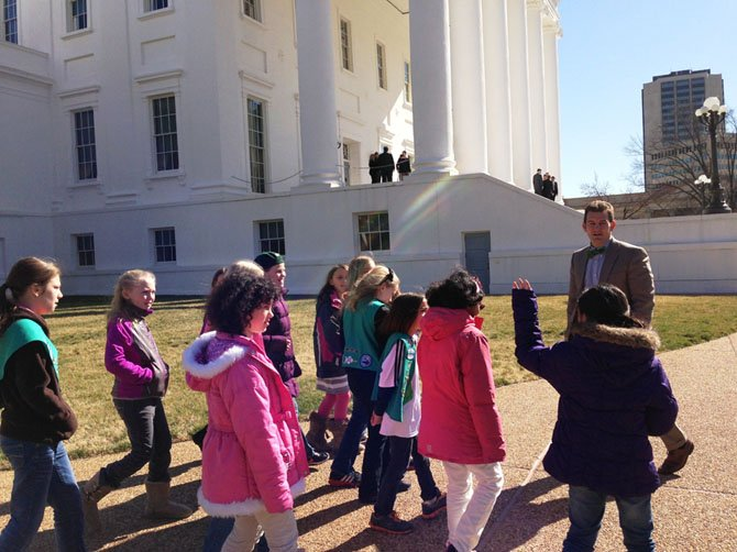Sen. Chap Petersen (D-34) shows Vienna Girl Scout Troop #136 around the Virginia State Capitol Grounds on Monday, Feb. 18.