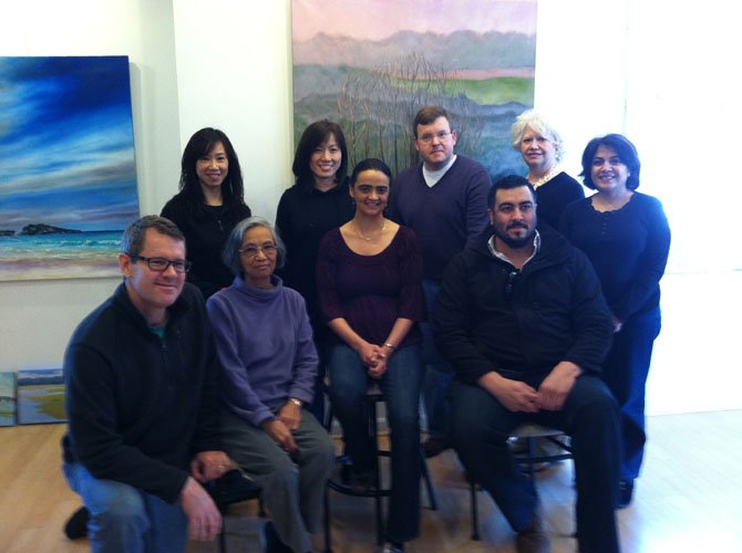 Yolanda Prinsloo and her students will show their art this month at The Art Gallery of Potomac. Back row, from left, are Stephanie Shih, Nancy Loh, Mark Claus, Donna Shields, and Swati Gupta, then front row, Scott Spangenberg, Esther Chow, Yolanda Prinsloo, and Javier Padilla.