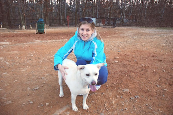 Amy Lubinski of Springfield and her rescued dog Daphne frequent the South Run Dog Park.
