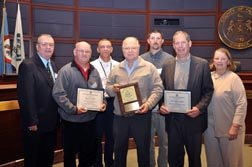 Giancarlo Bulfon (second from right) of Skanska USA joined by members of the INOVA Lorton Healthplex team on Jan. 18 to accept the 2012 Land Conservation Award for Small Commercial Project.