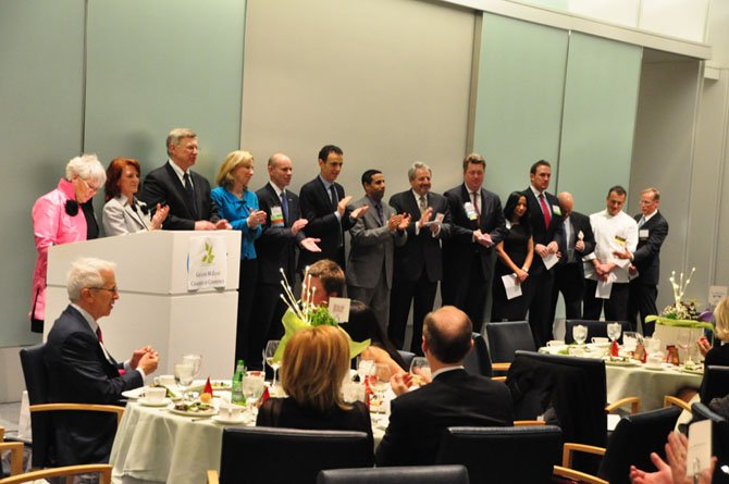 Members of the 2013 Greater McLean Chamber of Commerce Board are installed Friday, March 2, at Gannett Headquarters.