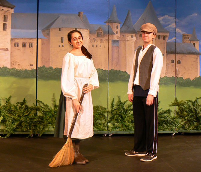 "Veronica Merril and Andrew Spafford in Langley School production of ""Cinderella."""
