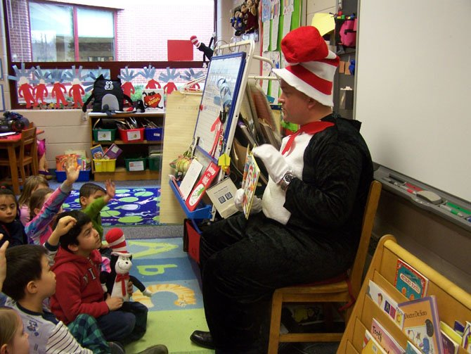 The Cat in the Hat reads to Aldrin Elementary students on Read Across American Day, Friday, March 1.