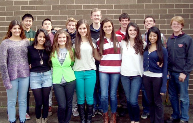 The Langley High School All-Virginia singers: (from left) First Row: Ivy Kenton (alternate), Ariana Tayebi (alternate), Alicia Melendez, Kathryn Bailey, Madeleine Chalk, Kathleen Welch, Kushali Marwaha. Second Row: Brian Niu (alternate), Alfred Lam (alternate), Andrew Jones, Jack Flatley, Jesse Levine, John Higgins (alternate) and Craig McKenzie.