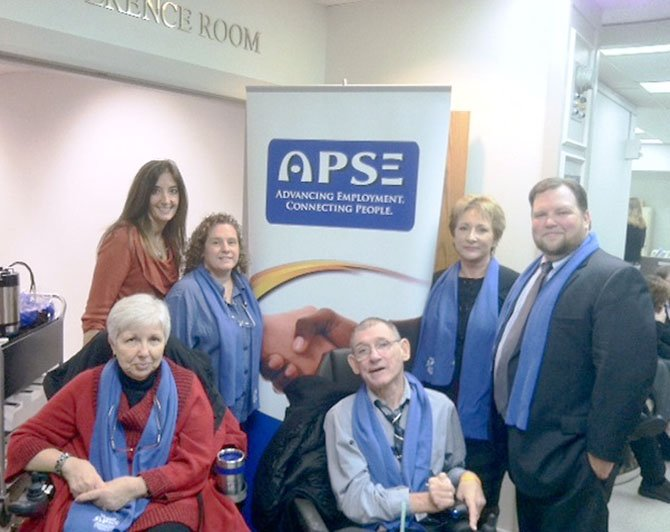 Del. Eileen Filler-Corn with members of The Association of People Supporting Employment First, a group that supports employment opportunities for the disabled.