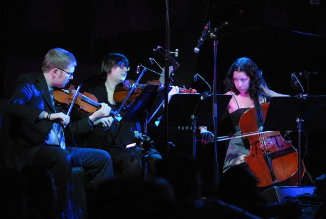 From left: Caleb Burhans, violin; Nadia Sirota; viola; Clarice Jensen, cello. 