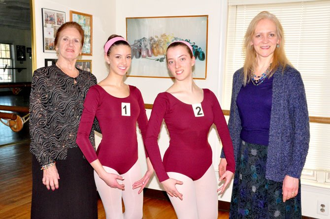 From left, Margaret Haddad, Amanda Baird, 15, Caroline Causey, 16, and Tamara Chetwerikova-Moubayed, an examiner for the Russian Ballet Society in England. Baird and Causey were among 60 students at Haddad's ballet studio to be evaluated by Chetwerikova-Moubayed last week.