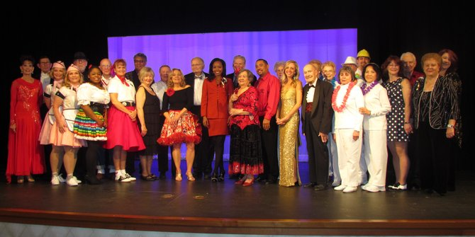 The whole cast of Dancing with the Greenspring Stars including the judging panel and masters of ceremony.
