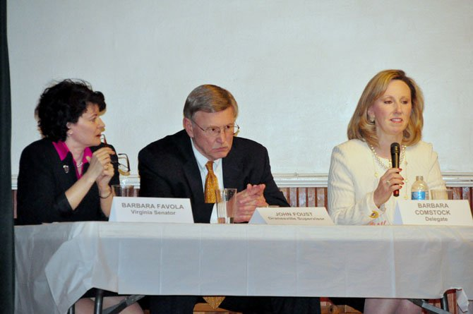 From left, State Sen. Barbara Favola (D-31), Fairfax County Supervisor John Foust (D-Dranesville) and Del. Barbara Comstock (R-34) speak at the Great Falls Grange Tuesday, March 12.