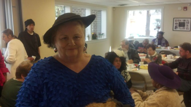 Debra Knight wears Kay Barnes' hat, which she borrowed.
