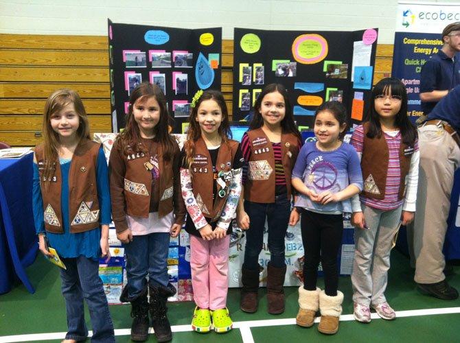 From left are Brownie troop members Lilly Vagonis, Caroline Kitt, Briana Hickey, Christina Hadad, Bailey Kramer, and Stephanie Yang.