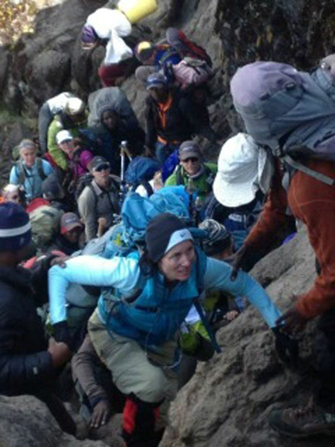 Bridgit Fried of Potomac as she climbs up Mount Kilimanjaro.