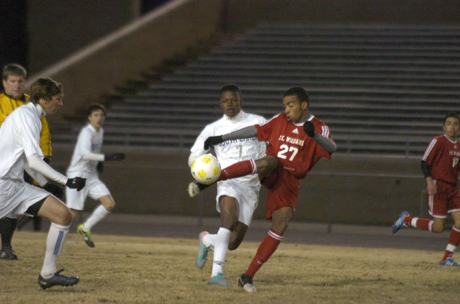 T.C. Williams sophomore Eryk Williamson scored a goal against South Lakes on March 14.