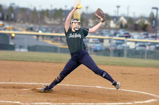 South County pitcher Rebecca Martin struck out 11 in six shutout innings against Oakton on March 15.