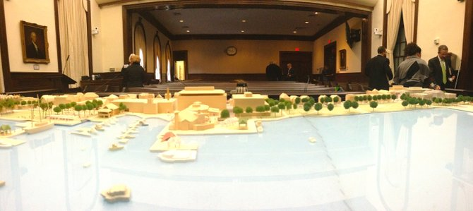 A model of the waterfront plan is displayed in City Council chambers.