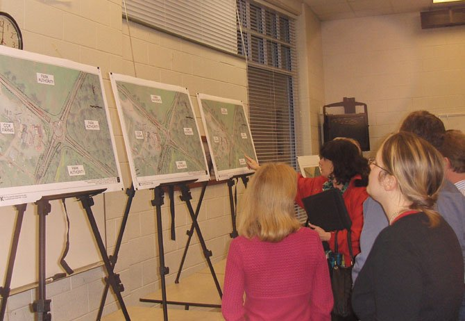 Residents peruse VDOTs three proposals for the Braddock/Pleasant Valley roads intersection.