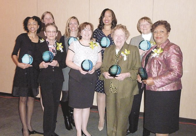 The 2013 Salute to Women award winners were honored March 18 at the Carlyle Westin Hotel. They include (front, from left): Monica Reid, Nina Tisara, Robin Wallin, Becky Davies and Faye Gunn. In back, Commission for Women chair Liz Johnson joins Erika Kleiner, Monica Jones and Pat Miller. Not pictured are Karyn Moran, Brooke Curran and Elizabeth Todd.