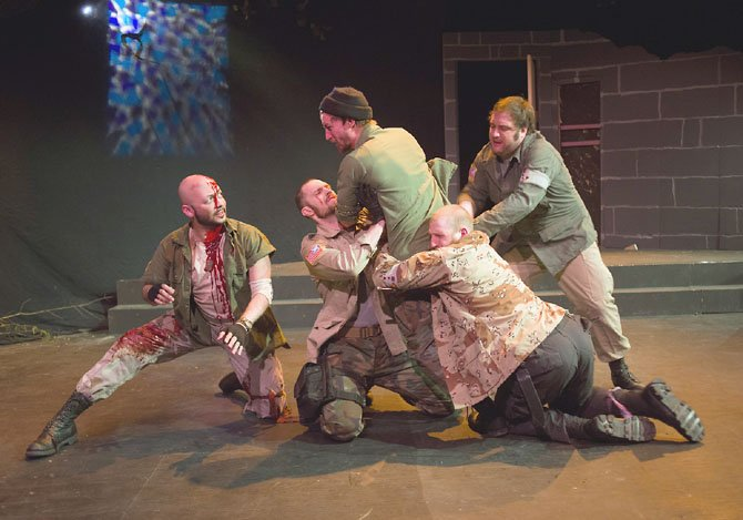 "Frank Britton as Banquo, James Finley as Fleance, Joe Carlson as Macbeth, Will Hayes as Hecate, Matt Dewberry as Gruoch in The American Century Theater's ""Voodoo Macbeth,"" running through April 13."