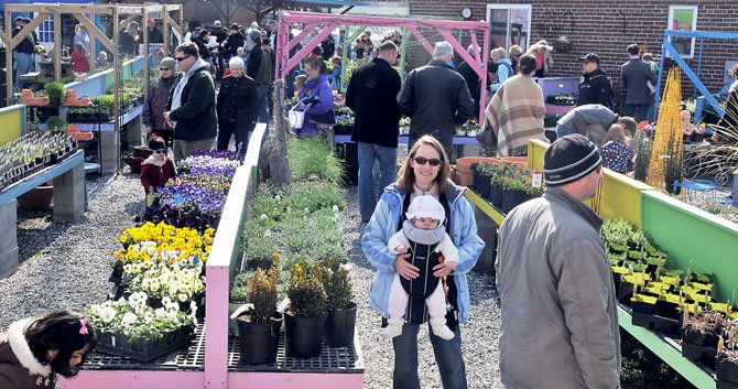 Parents and children wander through the garden center at Eclectic Nature hunting for Easter Eggs and admiring the selection of spring garden plants and accessories.