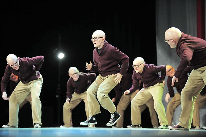 "Members of the West Springfield Dance Team perform ""Old People"" at the National Dance Alliance Nationals competition in Orlando, Fla. The team won fourth consecutive NDA National Championship."