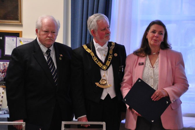 From left, Bill Tirrell, Grand Lodge of Virginia's Grand Master Louis Campbell and Herndon Vice Mayor Connie Hutchinson. Tirrell and Hutchinson were awarded the Herndon Masonic Lodge's Community Builders award Monday, April 1.