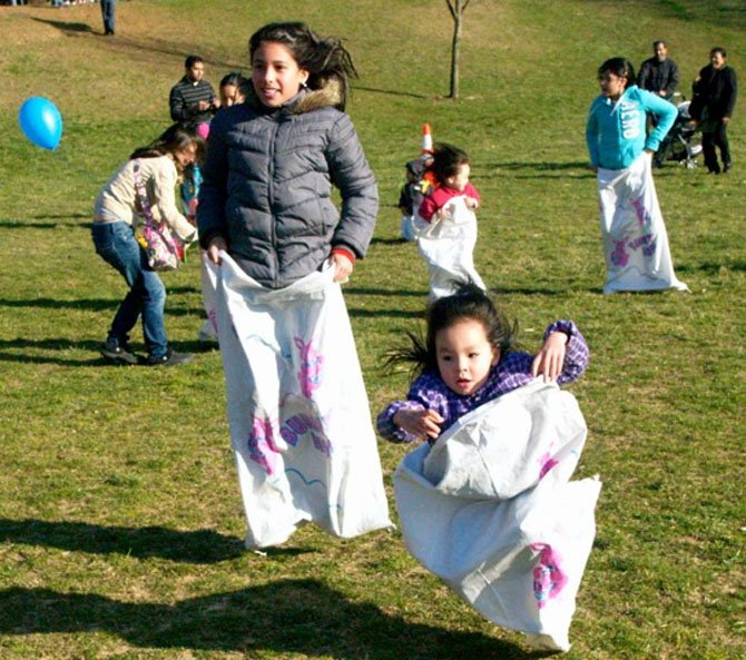 In addition to egg hunts, the City of Fairfax Egg Hunt at Van Dyck Park included bunny hop sack races, a treasure hunt and egg-related crafts.