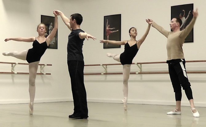 From left, dancers Sasha Podshivalova and  Grace Cho with Classical Ballet Theatre Artistic Director Alisher Saburov.