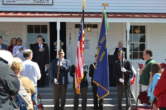 Members of the American Legion 17th District Honor Guard presented the colors at the Saturday, April 6, unveiling of the plaque at Vienna's Freeman Store building marking its inclusion into the National Register of Historic Places.