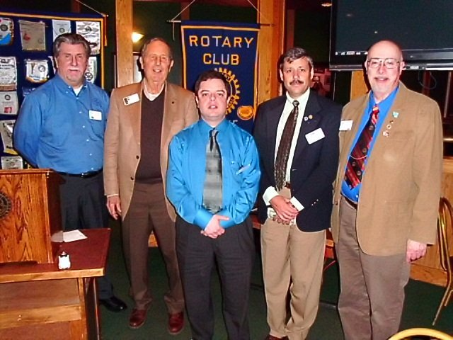 Pictured are Burke Rotary Officers (from left) Kevin Hooper, Travis White, Shaw Skurnick, Edward Robertson and Charles Sleeper.